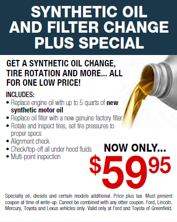 Toyota Synthetic Oil Change Coupon >> Synthetic Oil Change Tire Rotation Special Toyota Of Greenfield